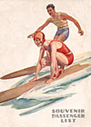 Ocean Navigation Company souvenir passenger list with surfing couple