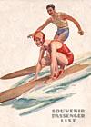 Ocean Navigation Company souvenir passenger list with surfing couple