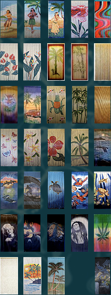 Vintage hawaiian prints posters painted bamboo curtains surf signs