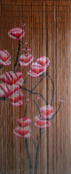 Bamboo Curtain With Pink Flowers