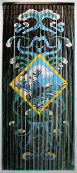 Bamboo Doorway Beads Curtain With Ocean Motif