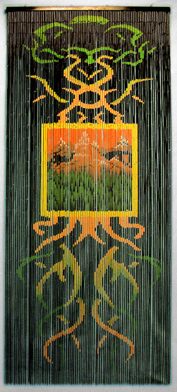 Bamboo Beaded Curtain With Decorative Earth Motif