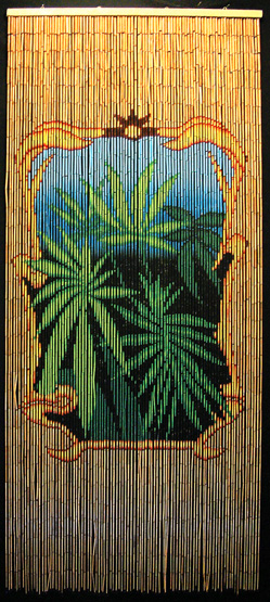 Bamboo beaded room divider with medicinal marijuana plants