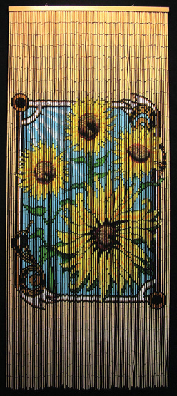 Beaded Bamboo Curtain With Sunflowers