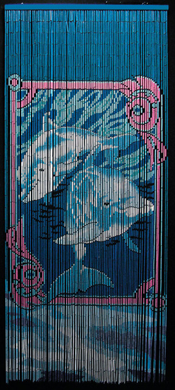 Beaded Bamboo Room Divider With Dolphins