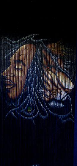 Bamboo doorway curtain with Bob Marley image & Bamboo door beads with Bob Marley image